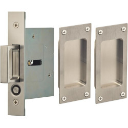 Omnia 7012/N Passage Pocket Door Lock w/ Modern Rectangular Trim featuring Mortise Edge Pull, Stainless Steel