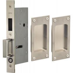 Omnia 7012 Series Pocket Door Lock w/ Modern Rectangular Trim, Stainless Steel
