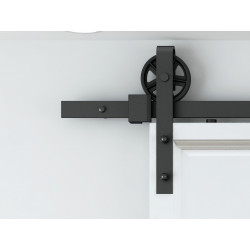 "AHI 505 Barn Door System w/ 78""-156"" Standard Track, Hardened steel Material, Stain Black Finish"