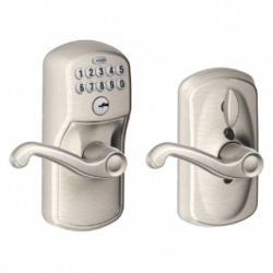 Schlage Plymouth Keypad Entry Lock with Flair Lever and Flex Lock