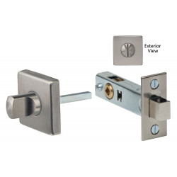 Omnia 6001S Square Privacy Bolt Set w/ Whistle Turn, Finish- Satin Stainless Steel