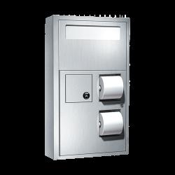 ASI 0483 Toilet Seat Cover & Toilet Tissue Dispenser W/ Napkin Disposal & Collar For Surface Mounting