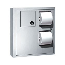 ASI 04833 Toilet Tissue Dispenser W/ Napkin Disposal & Collar For Surface Mounting