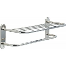 "Delta 43624-SN 24"" Stainless Steel Towel Shelf with One Bar, Exposed Mounting"
