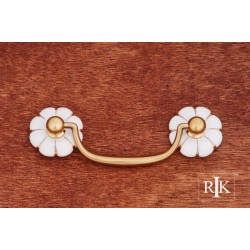 RKI CP 352 Porcelain Gold Line Flower Ends Bail Pull