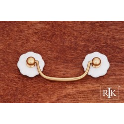 RKI CP 353 Porcelain Plain Flower Ends Bail Pull in Polished Brass