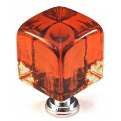 Cal Crystal ARTX-CLA Large Amber Cube Knob In Bronze