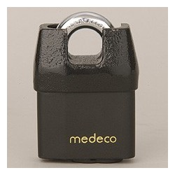 "54*825 Medeco No. 54 High Security Shrouded Padlock with 7/16"" Shackle Diameter, LFIC Cylinder"
