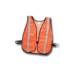 """Mutual Industries Non-ANSI High Visibility Soft Mesh Safety Vest - 1"""" Silver Reflective Stripe"""