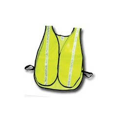 """Mutual Industries Non-ANSI High Visibility Soft Mesh Safety Vest - (Lime) 1"""" Silver Reflective Stripe"""