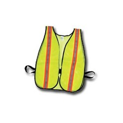 "Mutual Industries Non-ANSI High Visibility Soft Mesh Safety Vest - 1-1/2"" Orange / Silver / Orange Reflective Stripe"
