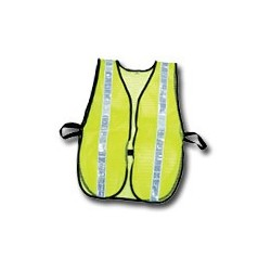 """Mutual Industries Non-ANSI High Visibility Soft Mesh Safety Vest (Lime) - 1-3/8"""" White Reflective Stripe"""