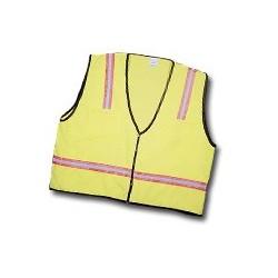 Mutual Industries Surveyor Safety Vest (lime) - orange/silver/orange Reflective Stripe