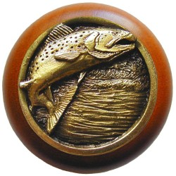 Notting Hill NHW-708 Leaping Trout Wood Knob 1-1/2 diameter