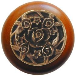 Notting Hill NHW-726 Saratoga Rose Wood Knob 1-1/2 diameter