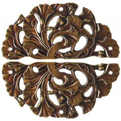 Notting Hill NHH-902 Florid Leaves (sold in pairs) Hinge Plate Set 1-1/4 w x 2-1/2 h