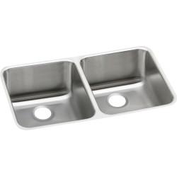 Elkay ELUH311810 Gourmet (Lustertone) Stainless Steel Double Bowl Undermount Sink