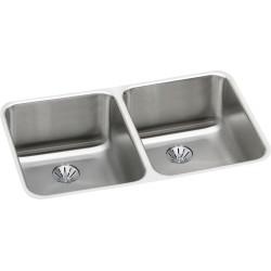 Elkay ELUH311810PD Gourmet (Lustertone) Stainless Steel Double Bowl Undermount Sink Kit