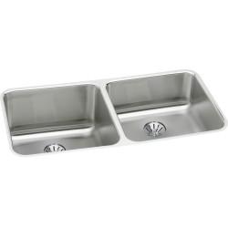 Elkay ELUH311810RPD Gourmet (Lustertone) Stainless Steel Double Bowl Undermount Sink Kit