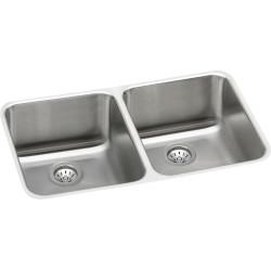 Elkay ELUH3118DBG Gourmet (Lustertone) Stainless Steel Double Bowl Undermount Sink Kit