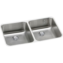 Elkay ELUH3118PDK Gourmet (Lustertone) Stainless Steel Double Bowl Undermount Sink Kit