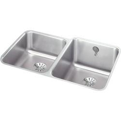 Elkay ELUH3120LPDK Gourmet (Lustertone) Stainless Steel Double Bowl Undermount Sink Kit