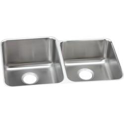 Elkay ELUH3120R Gourmet (Lustertone) Stainless Steel Double Bowl Undermount Sink