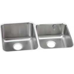 Elkay ELUH3120REK Gourmet (Lustertone) Stainless Steel Double Bowl Undermount Sink Kit