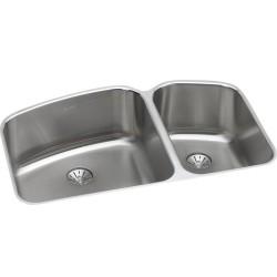 Elkay ELUH31229RPD Harmony (Lustertone) Stainless Steel Double Bowl Undermount Sink Kit