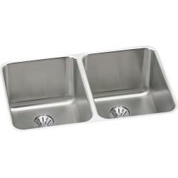 Elkay ELUH322010PD Gourmet (Lustertone) Stainless Steel Double Bowl Undermount Sink Kit