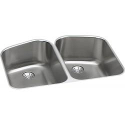 Elkay ELUH32229PD Harmony (Lustertone) Stainless Steel Double Bowl Undermount Sink Kit
