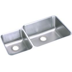 Elkay ELUH3520L Gourmet (Lustertone) Stainless Steel Double Bowl Undermount Sink