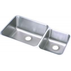 Elkay ELUH3520R Gourmet (Lustertone) Stainless Steel Double Bowl Undermount Sink