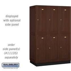Salsbury Solid Oak Executive Wood Locker - Double Tier - 3 Wide - 6 Feet High