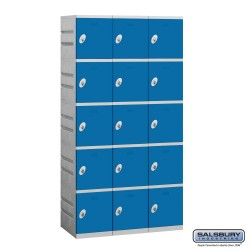 Salsbury Plastic Locker - Five Tier - 3 Wide - 73 Inches High - 18 Inches Deep