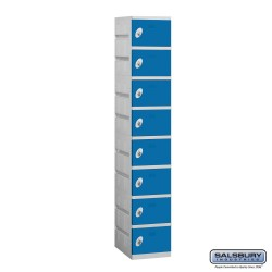 Salsbury Plastic Locker - Eight Tier - 1 Wide - 73 Inches High - 18 Inches Deep