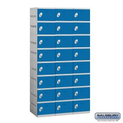Salsbury Plastic Locker - Eight Tier - 3 Wide - 73 Inches High - 18 Inches Deep